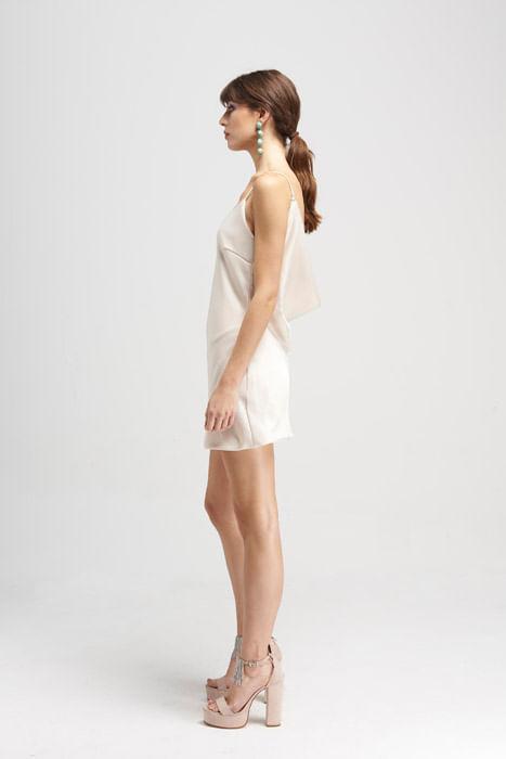 Vestido corto café blanco